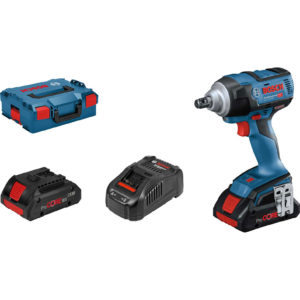 """Bosch GDS 18V 300 Cordless Brushless 1/2"""" Drive Impact Wrench 2 x 4ah Li-ion Charger Case"""