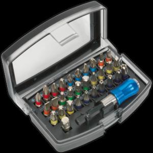 Siegen S01035 32 Piece Colour Coded S2 Steel Screwdriver Bit Set