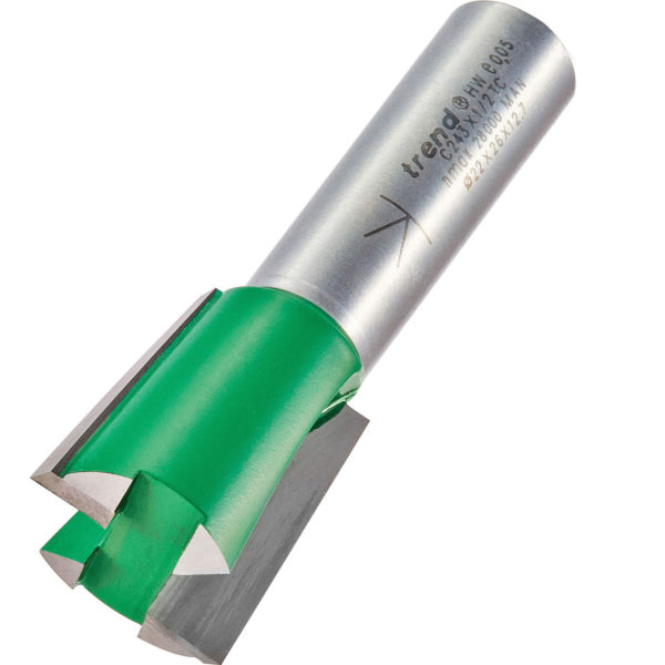 "Trend CRAFTPRO Stair Jig Housing Dovetail Router Cutter 22mm 26mm 1/2"""