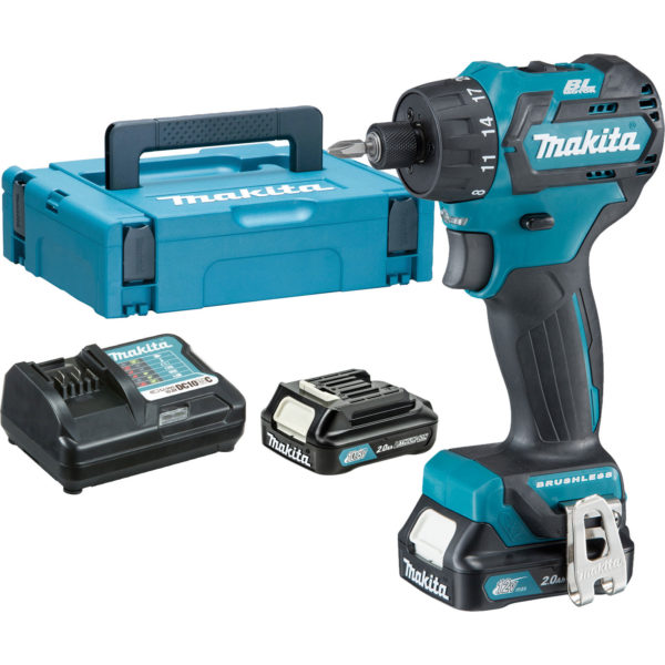 Makita DF032 12v Cordless CXT Brushless Hex Drill Driver 2 x 2ah Li-ion Charger Case